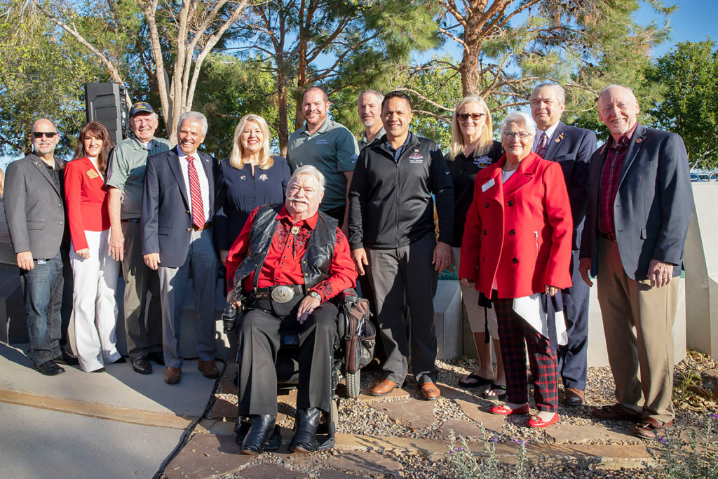 Surprise City Councilmembers stand alongside the newly opened Veterans Reflection Circle.