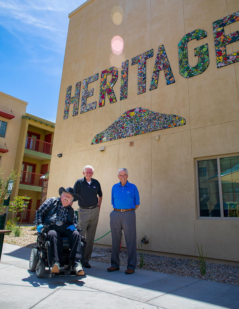 Councilmember Winters, Councilmember Remley and Mayor Hall outside the Heritage building.