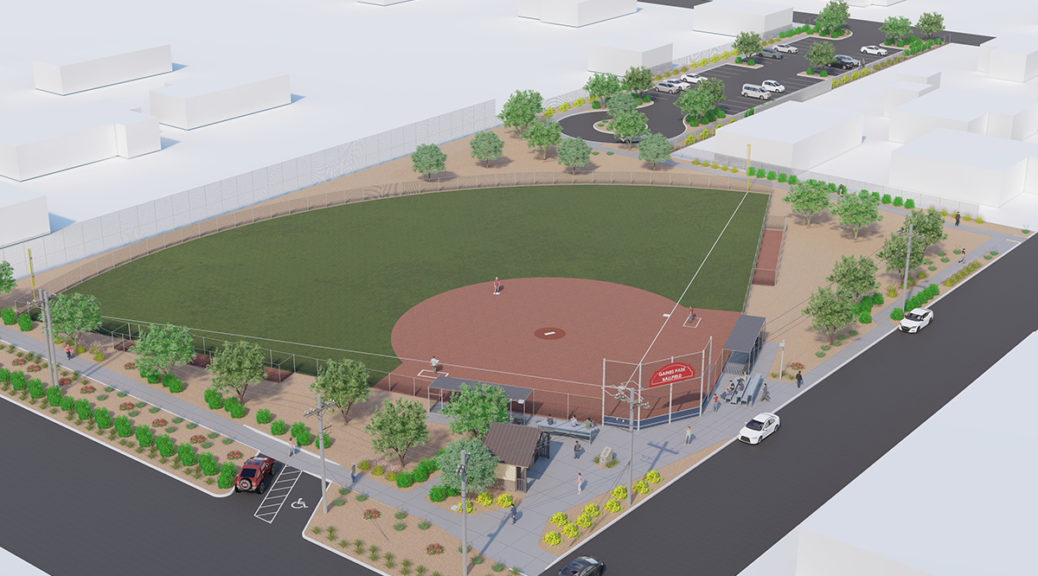 A design rendering of an aerial view of the Gaines Park Youth Baseball Field.