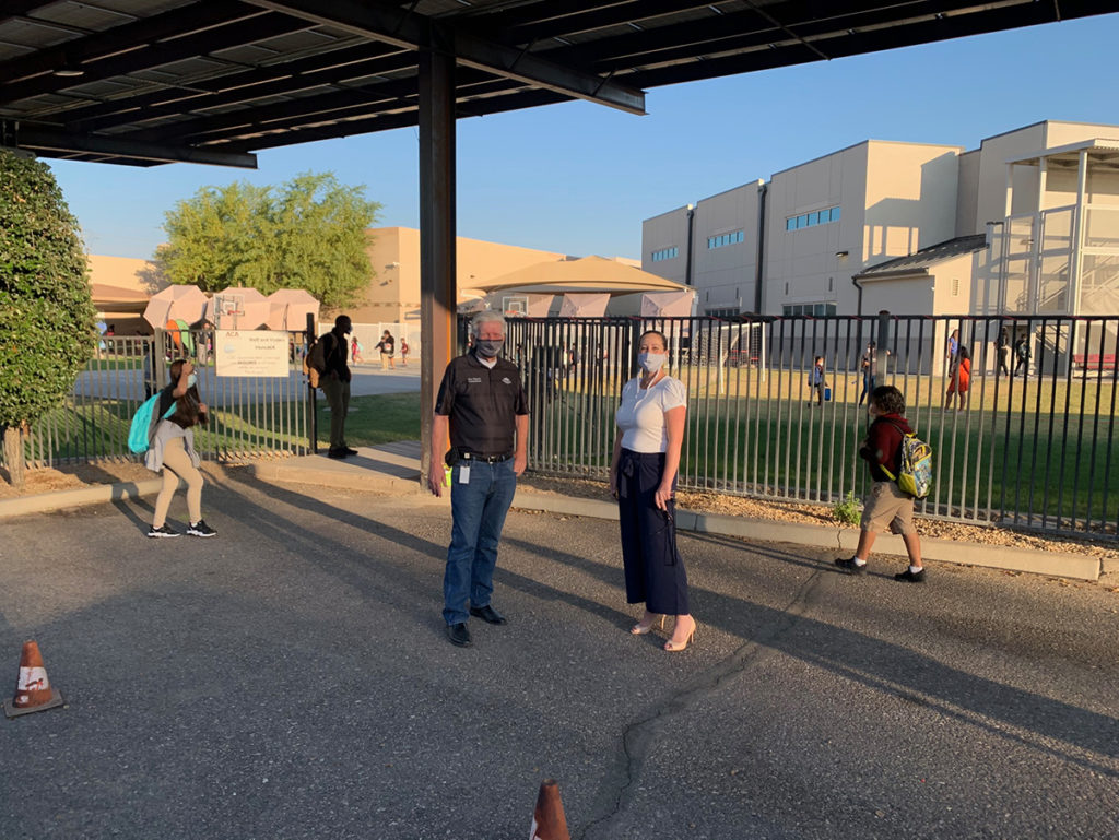 Councilmember Remley on the campus of Arizona Charter Academy.