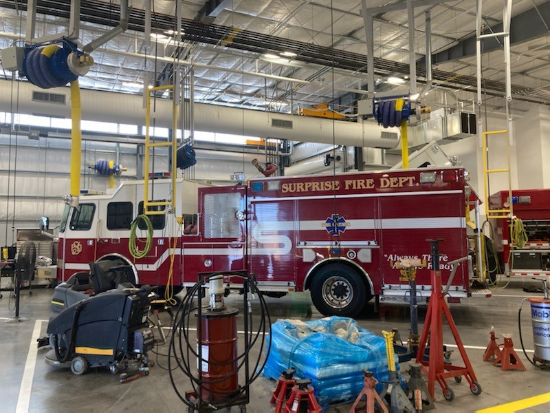 A Surprise Fire Department truck inside the new public works facility.