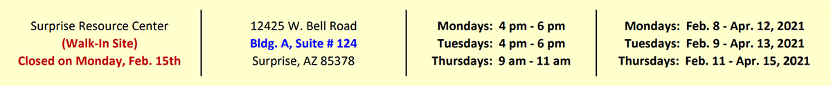 A listing of the Surprise Resource Center hours.