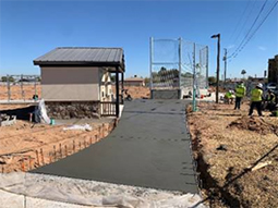 Construction at Gaines Field Ballpark.