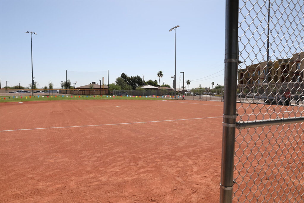 A view of the new ball field at Floyd Gaines park.