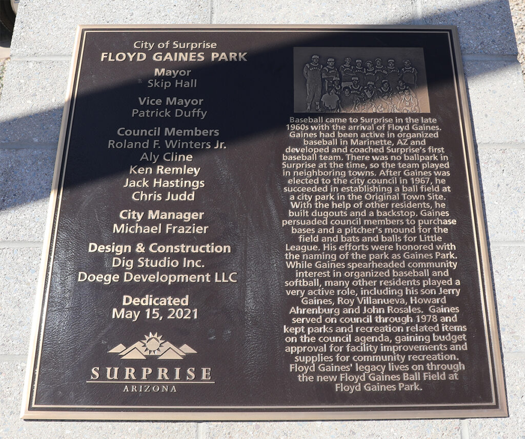 The plaque at Floyd Gaines Park dedicating the new ball field.