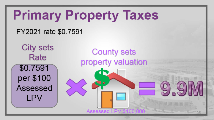 A slide showing a summary of primary property taxes.